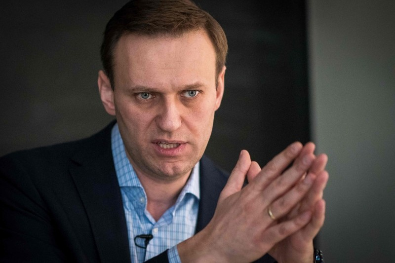 Russian opposition leader Alexei Navalny speaks during an interview with AFP at the office of his Anti-corruption Foundation (FBK) in Moscow on January 16, 2018. (AFP File Photo)
