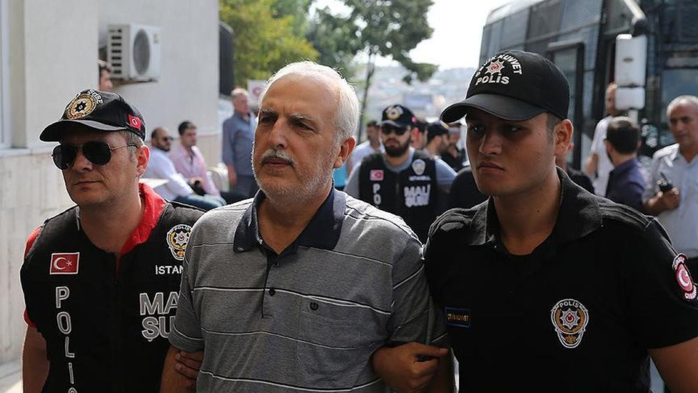 Mutlu, seen here in the company of police officers escorting him to a previous trial in Istanbul, will serve time in a prison where Selahattin Demirtau015f, jailed head of a PKK-linked party and Adnan Oktar, head of a criminal cult, are being held.