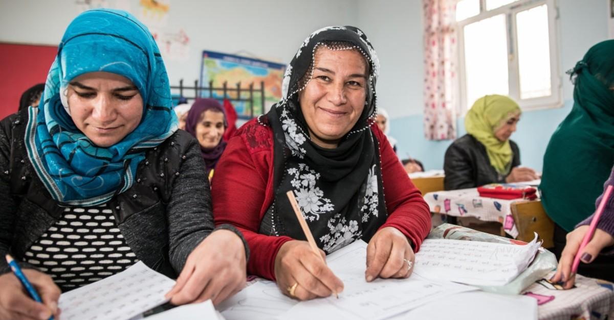 Women attend a literacy class in u015eu0131rnak, March 14, 2019.