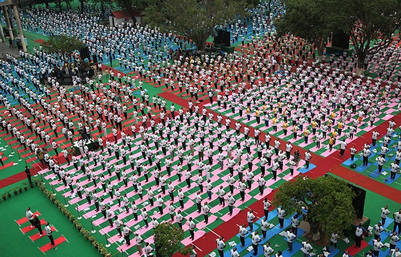 People perform yoga on International Yoga Day in Chandigarh, India, June 21, 2017. (Reuters Photo)