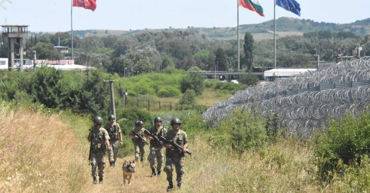 This file photo shows Turkish security forces patrolling the Turkey-Greece border. (DHA Photo)