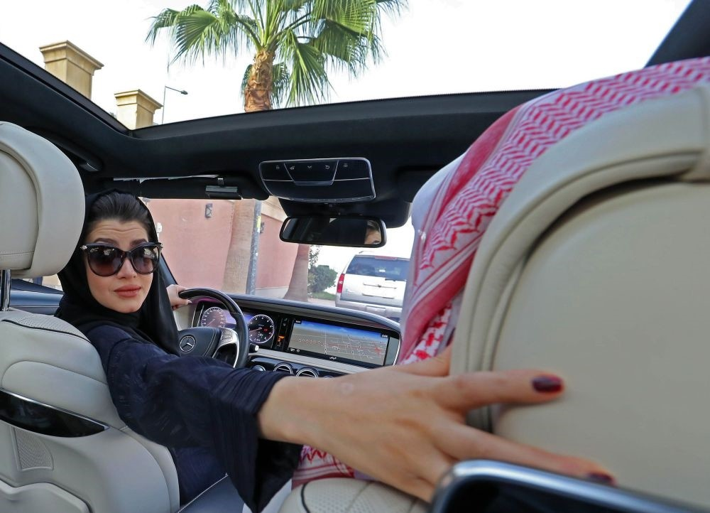 A Saudi woman practices reversing a car in Riyadh ahead of the lifting of a ban on women driving in Saudi Arabia on Apr. 29.