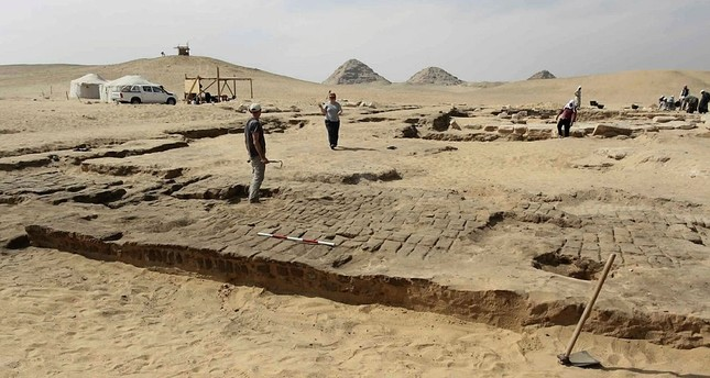 This undated photo released by the Egyptian Ministry of Antiquities shows the remains of a recently discovered temple for King Ramses II, in Abusir, southwest of Cairo. (via AP)