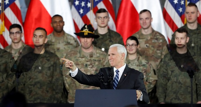 U.S. Vice President Mike Pence gestures during a speech, Warsaw, Feb. 13, 2019.