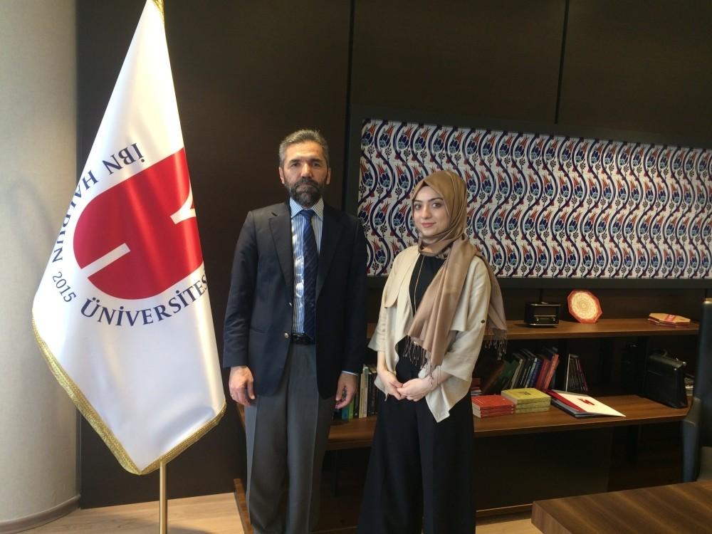 Prof. Dr. Recep u015eentu00fcrk with Daily Sabah reporter u015eeyma Nazlu0131 Gu00fcrbu00fcz
