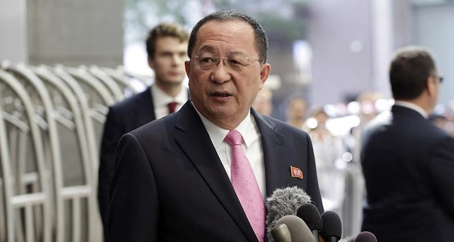 North Korea's Foreign Minister Ri Yong Ho speaks outside the U.N. Plaza Hotel, in New York, Monday, Sept. 25, 2017. (AP Photo)