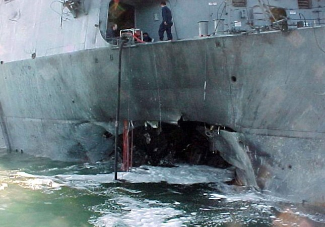The port side damage to the guided missile destroyer USS Cole is pictured after a bomb attack during a refueling operation in the port of Aden, Oct. 12, 2000. REUTERS Photo