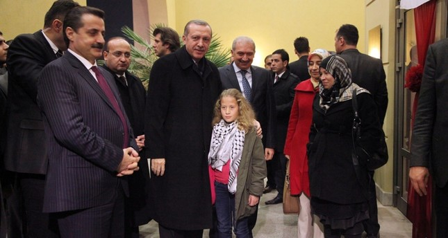 A file photo of President Recep Tayyip Erdoğan and Palestinian teen Ahed Tamimi during his visit to Şanlıurfa provice, Turkey.