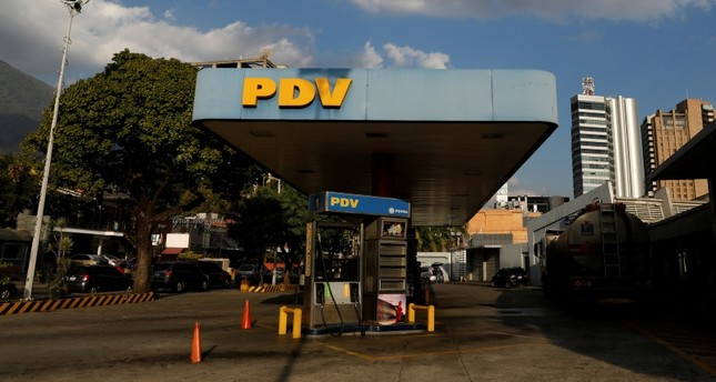 The corporate logo of the Venezuelan oil company PDVSA is seen at a gas station in Caracas, Venezuela Jan. 28, 2019. (Reuters Photo)