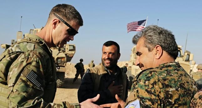 U.S. Army Maj. Gen. Jamie Jarrard (L) thanks YPG-led Manbij Military Council commander Muhammed Abu Adeel, near Manbij, Syria, Feb. 7.