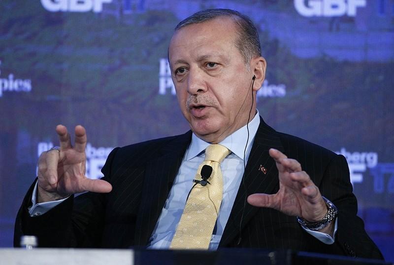 President Recep Tayyip Erdou011fan speaks at the Bloomberg Global Business Forum in New York, U.S., September 20, 2017 (Reuters Photo)