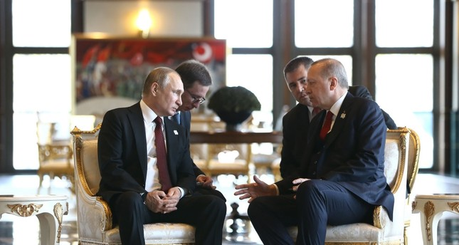 President Erdoğan and his Russian counterpart President Putin during a one-to-one meeting at the Presidential Complex, in the capital Ankara, April 3, 2018.