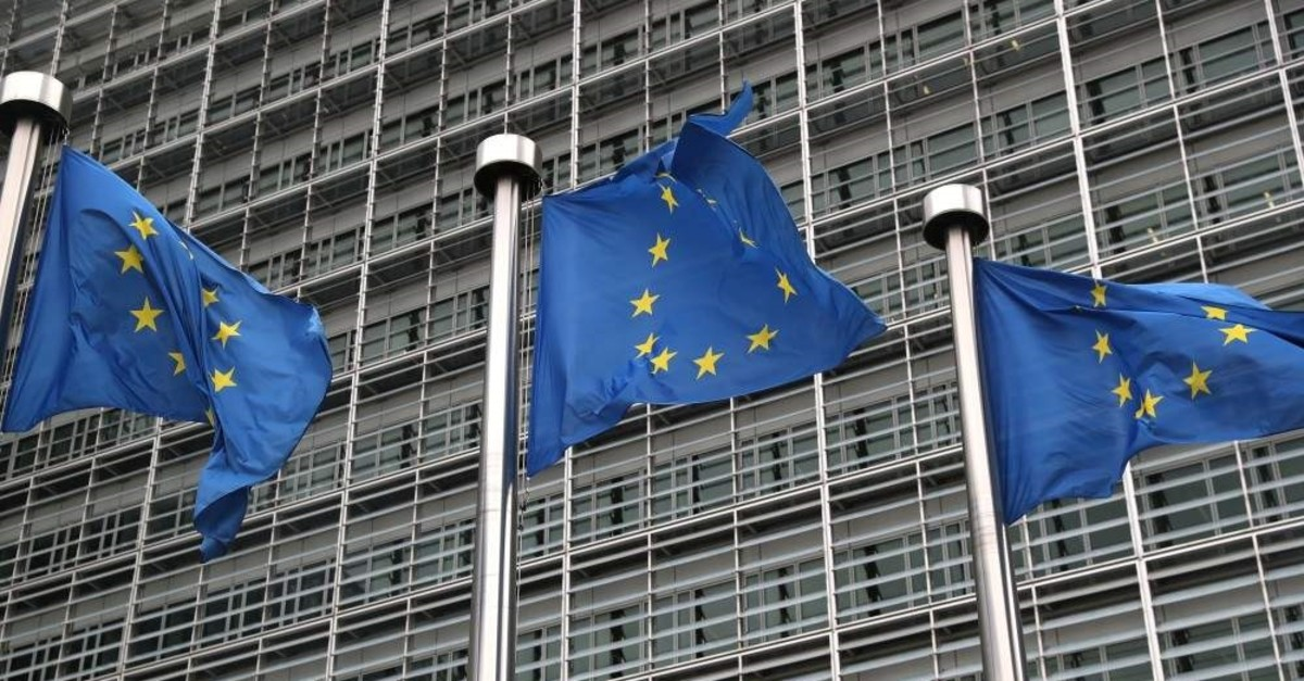 European Union flags fly outside the European Commission headquarters in Brussels, Belgium, Oct. 4, 2019. (REUTERS Photo)