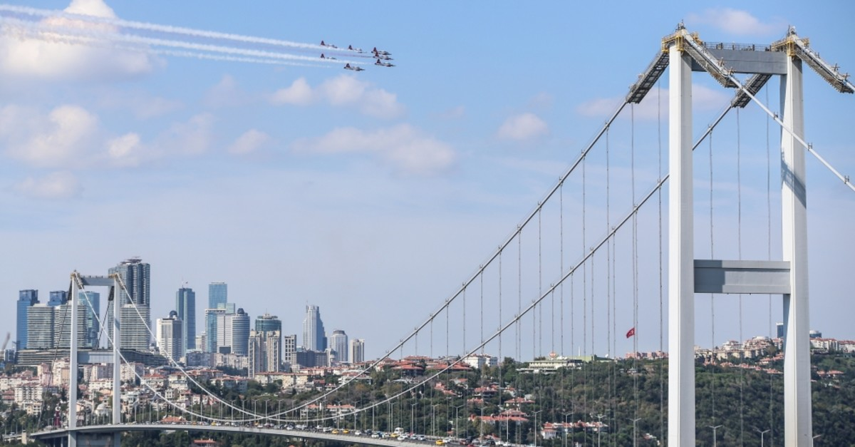Turkish Air Force's aerobatics team, the Turkish Stars,u200b make low pass over the Bosporus on the eve of TEKNOFEST Istanbul, Sept. 16, 2019.