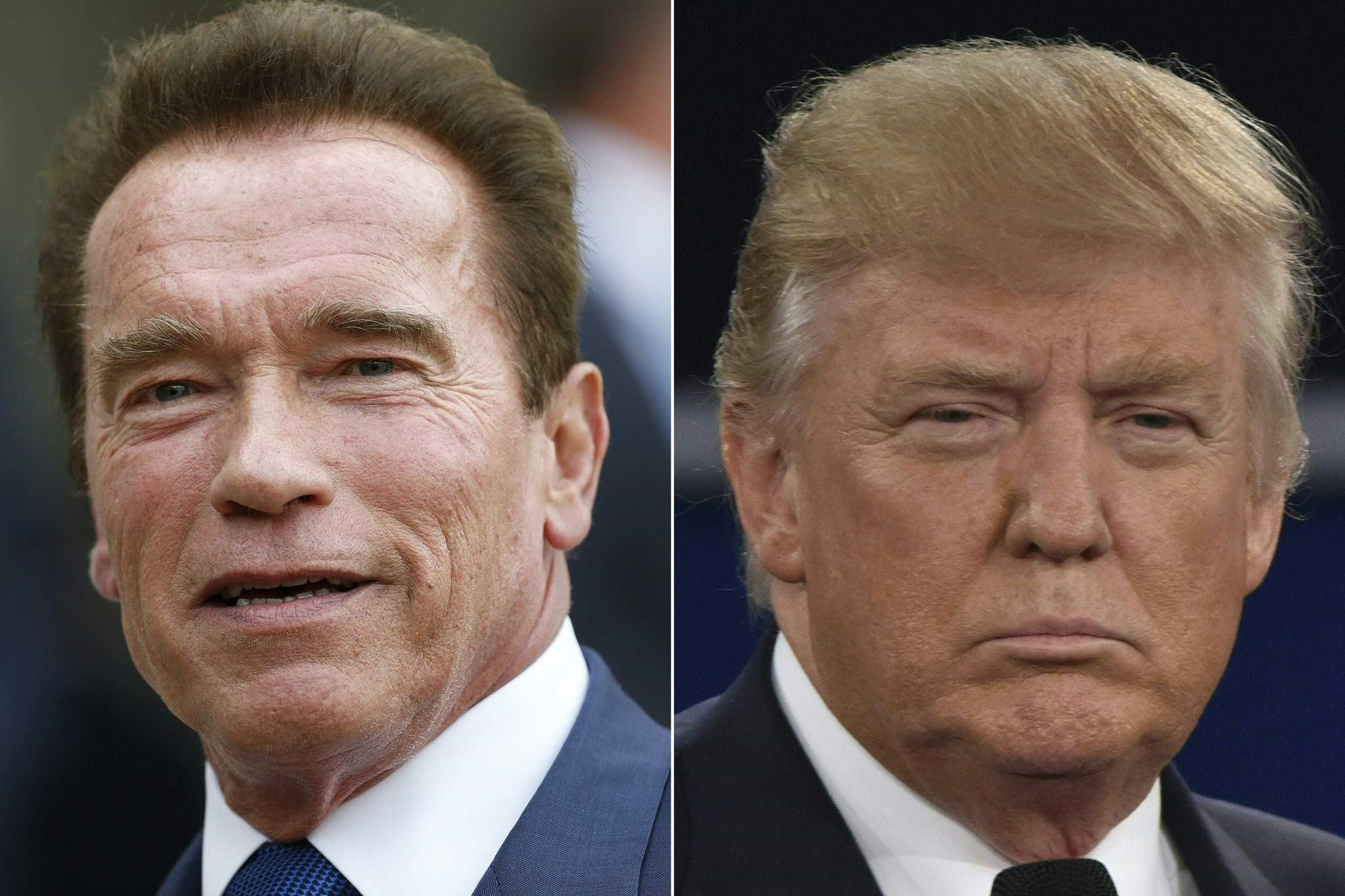 Combination of pictures of US actor and former governor of California Arnold Schwarzenegger (L) and US President Donald Trump.