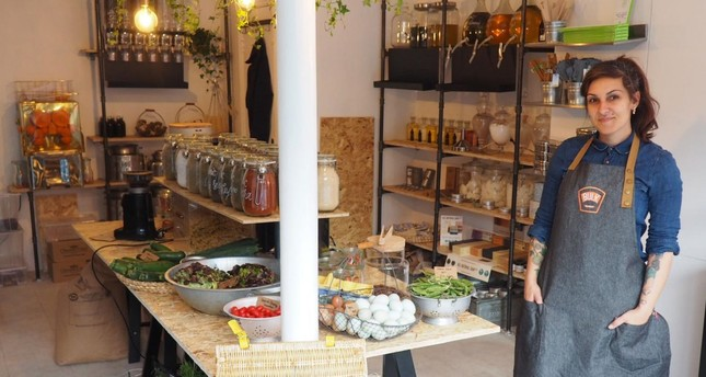 """Ingrid Caldironi has opened the only """"zero-waste"""" store in London, selling foods in bulk, products made out of waste and durable alternatives to typical disposable products, such as plastic cutlery, razors and sponges."""