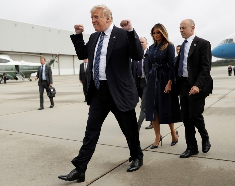 President Donald Trump and first lady Melania Trump arrive at Johnstown, Pa., on Sept. 11, 2018, before Trump's speech during the September 11 Flight 93 Memorial Service in Shanksville, Pa. (AP Photo)