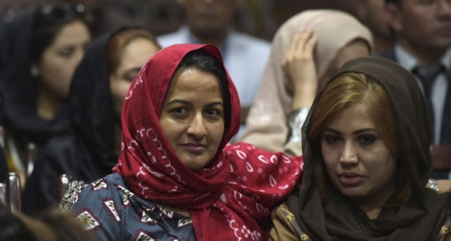 Afghan women attend the first public event for the 'Where Is My Name?' campaign in Kabul.