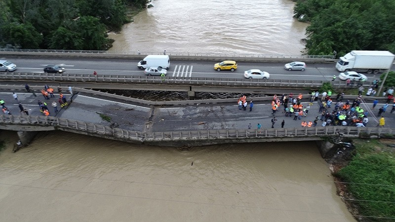 Heavy rains caused this bridge to collapse in u00dcnye, Ordu province, Turkey, on Aug. 9, 2018. (AA Photo)