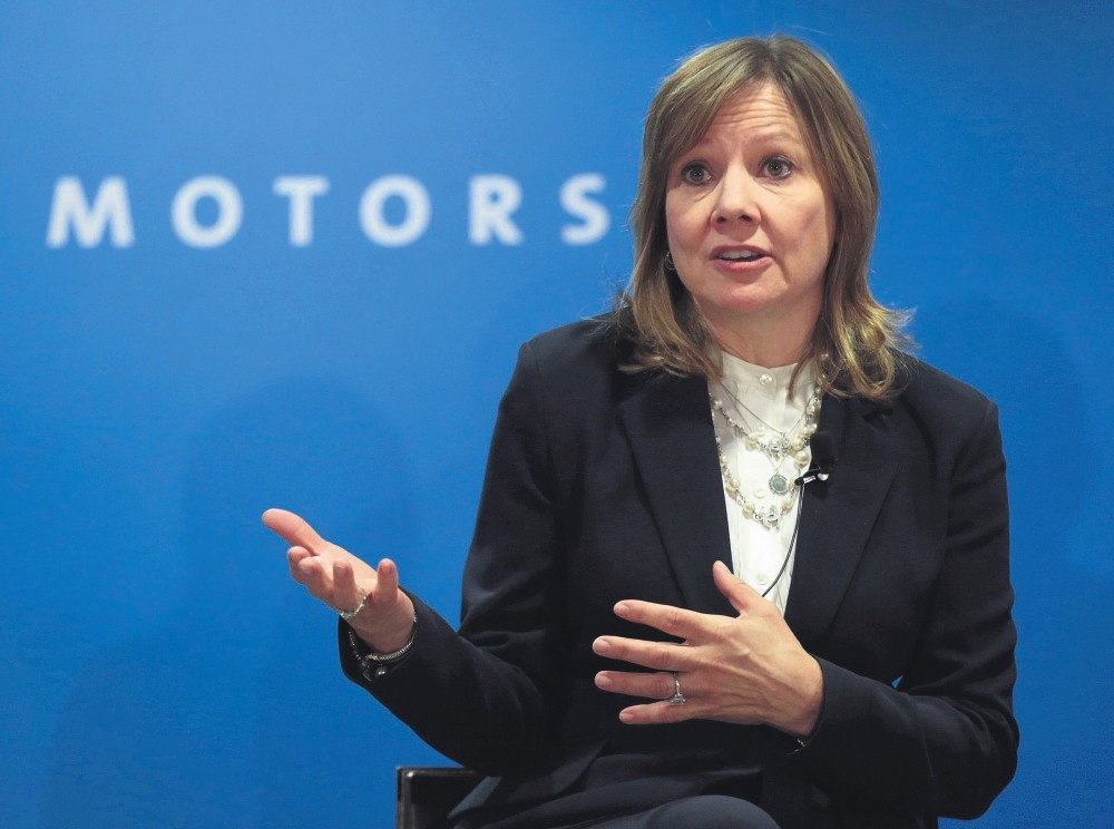 General Motors CEO Mary Barra speaks at GM's press conference at the North American International Auto Show, Detroit.
