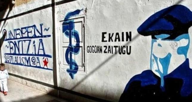 شعارات لمنظمة إيتا على جدار في إقليم الباسك