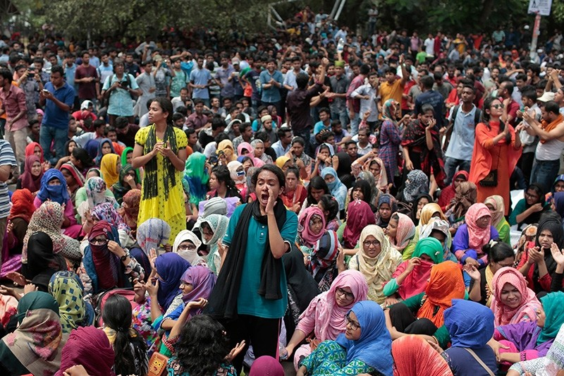 Bangladeshi students shout slogans during a protest for removing or reforming a quota system in government jobs in Dhaka, Bangladesh, Monday, April 9, 2018. (AP Photo)