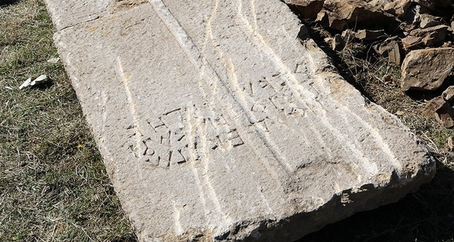 Sarcophagus cover featuring Greek writing discovered in Turkey's Gümüşhane, Nov. 2, 2017 (AA Photo)
