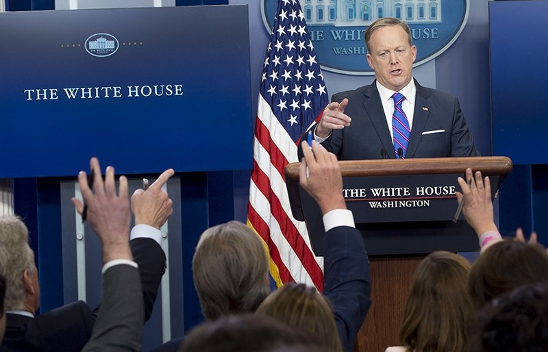 White House Press Secretary Sean Spicer speaks during the daily press briefing in the Brady Press Briefing Room of the White House in Washington, DC on Feb. 14, 2017. (AFP Photo)