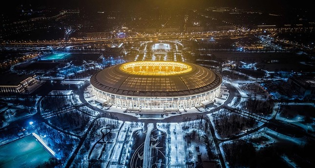 An aerial view taken with a drone shows Luzhniki Stadium in Moscow on January 24, 2018. Luzhniki Stadium will host seven matches including the final of the 2018 FIFA World Cup football tournament. (AFP Photo)