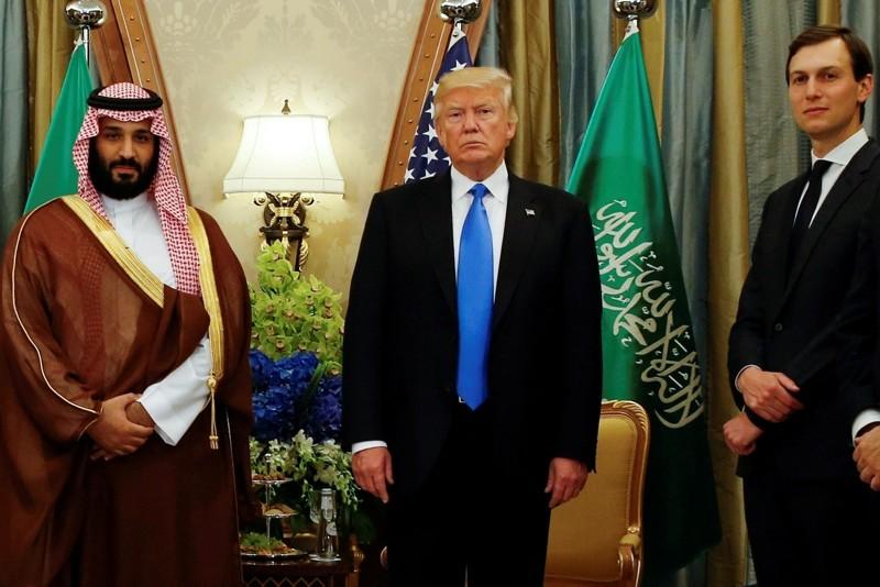 Trump, flanked by Kushner, meets with MbS at the Ritz Carlton Hotel in Riyadh, Saudi Arabia, May 20, 2017. (Reuters Photo)