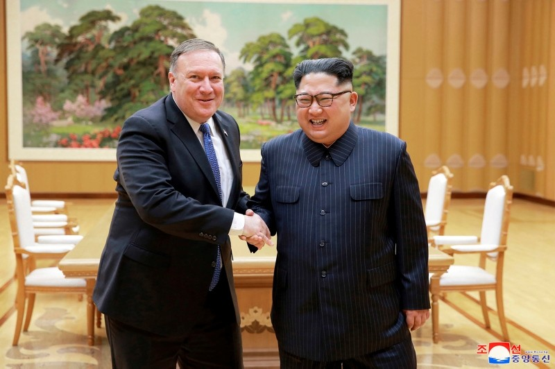 In this May 9, 2018, file photo provided by the North Korean government, U.S. Secretary of State Mike Pompeo, left, shakes hands with North Korean leader Kim Jong Un during a meeting in Pyongyang, North Korea. (AP Photo)
