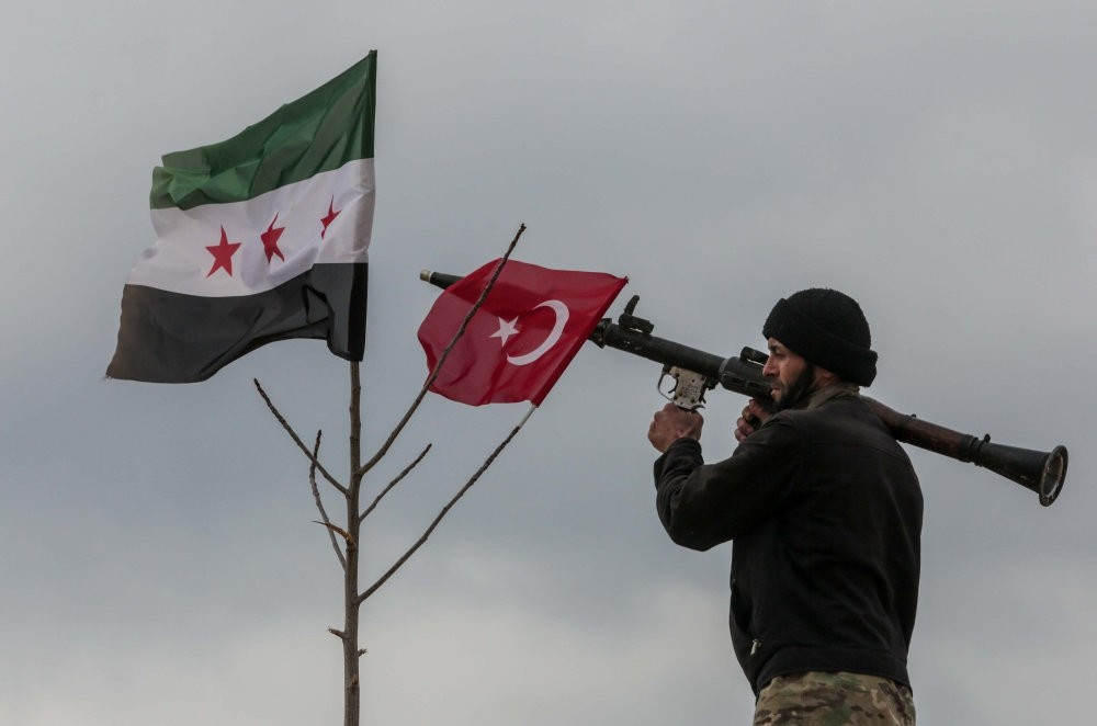 A member of the Free Syrian Army seen in the village of Arab Viran, Afrin, Syria, Feb 20.