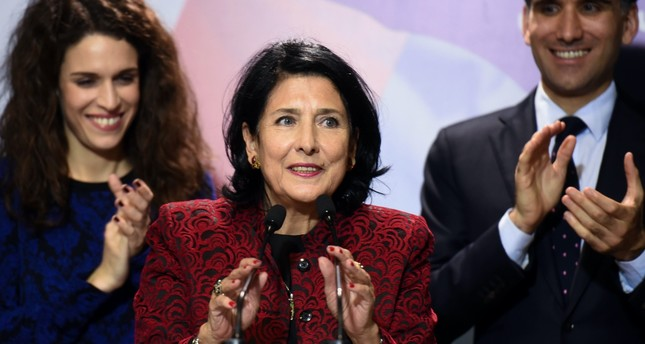 Before being elected Georgia's first female president Salome Zurabishvili, addresses the media in Tbilisi during her election campaign, Nov. 28, 2018.