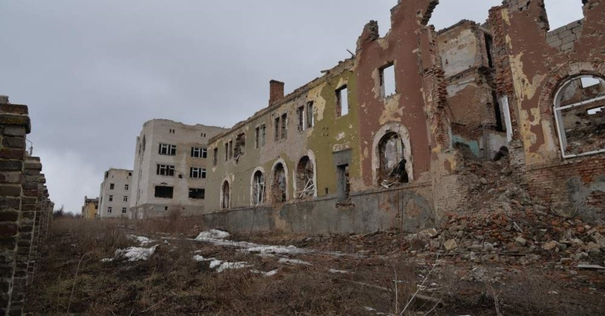 A hospital damaged in heavy shelling by separatists, Slavyansk, Feb. 27, 2019.
