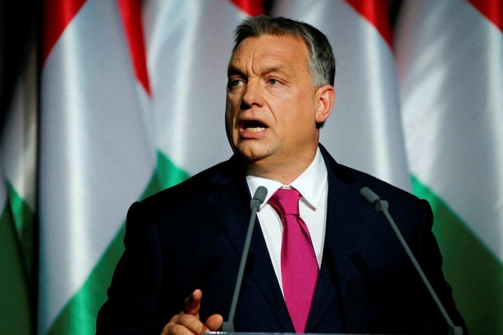 Hungarian Prime Minister Viktor Orban speaks during his State of the Nation address in Budapest on Feb. 10.
