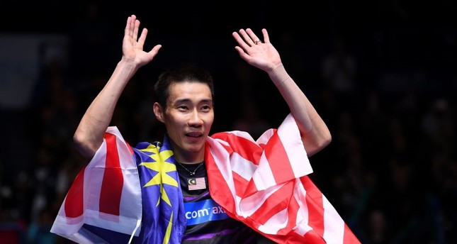 Lee Chong Wei celebrates his victory over China's Lin Dan in their All England Open Badminton Championships men's singles final match in Birmingham, central England, March 12, 2017.