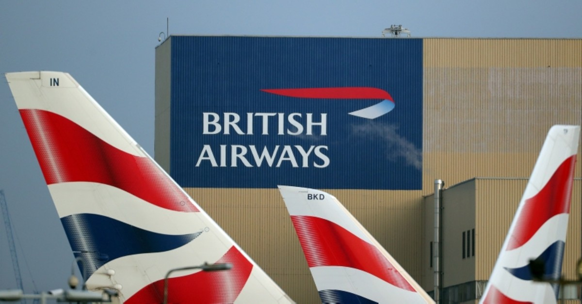 British Airways logos are seen on tail fins at Heathrow Airport in west London, Britain, February 23, 2018. (Reuters Photo)