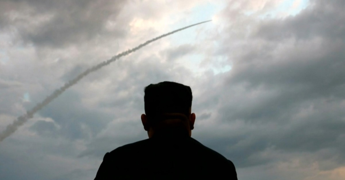This screen grab image taken from North Korean broadcaster KCTV on August 1, 2019 shows North Korean leader Kim Jong Un watching the launch of a ballistic missile at an unknown location in North Korea early on July 31. (AFP Photo)