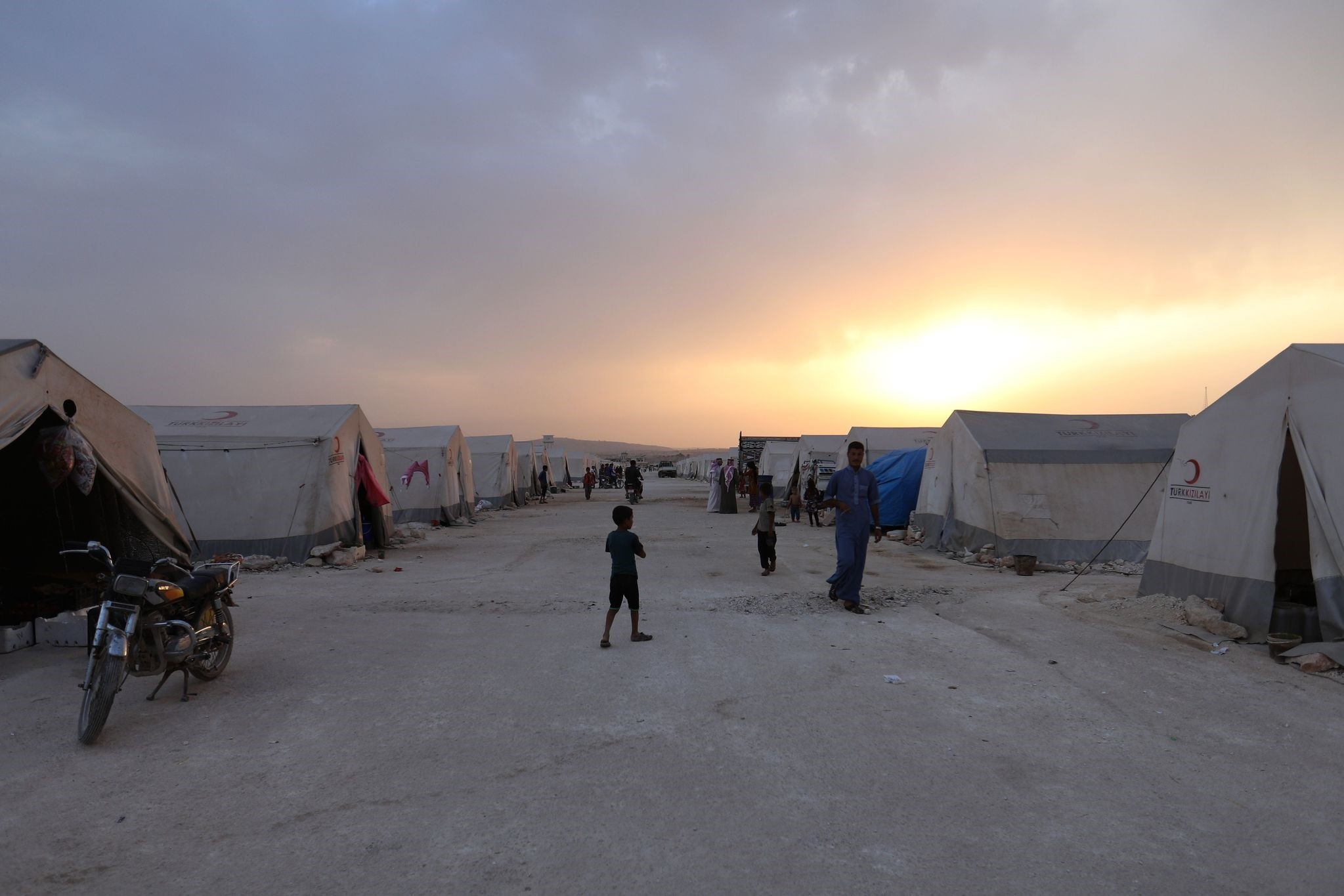 A camp for Syrian refugees at sunset in Kafaldin on the Syrian-Turkish border, Sept. 13.