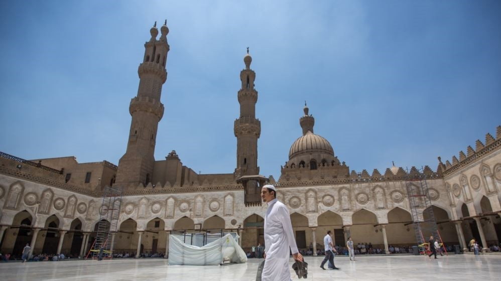 Muslims attend Friday prayers in Al-Azhar mosque, in Islamic Cairo, one of the oldest mosques in the country and an attraction for many students and scholars interested in Islam, in Cairo, Egypt. (AP Photo)