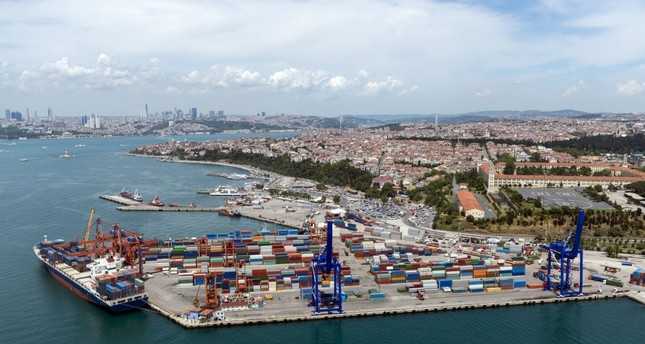 Aerial view of the container port and ship in Haydarpaşa, Istanbul.