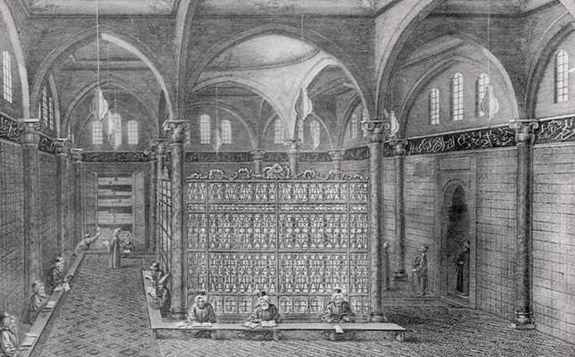 A gravure printing shows the inner structure of the Koca Ragıp Pasha Library.