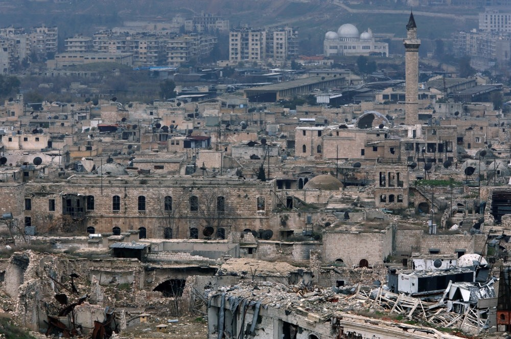 A view showing the damage in the Old City of Aleppo as seen from the city's ancient citadel, Jan. 31.
