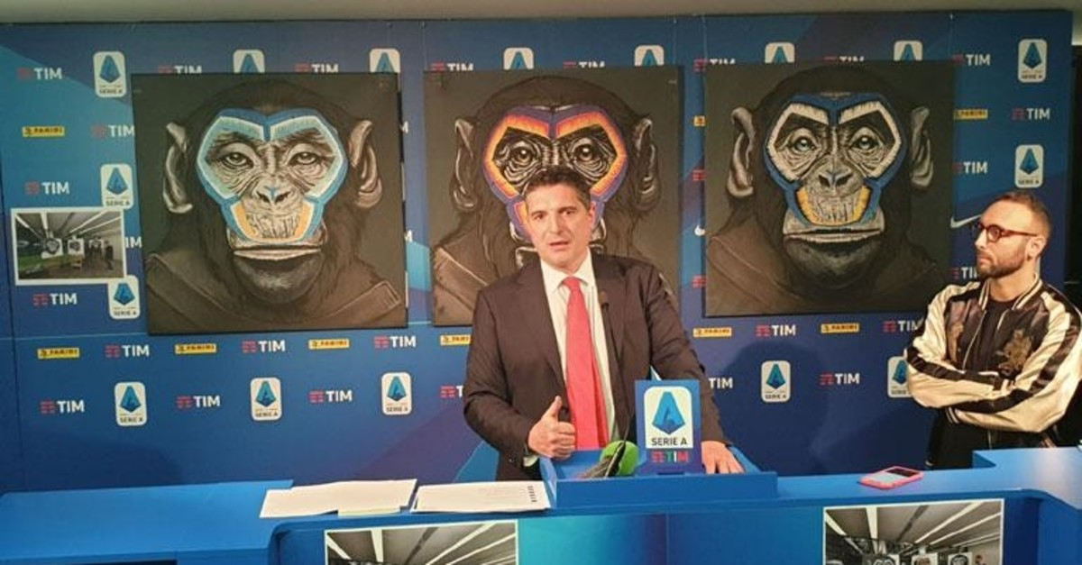 Serie A CEO Luigi de Siervo speaks in front of the paintings at a news conference, Dec. 16, 2019. (Photo courtesy of Serie A)