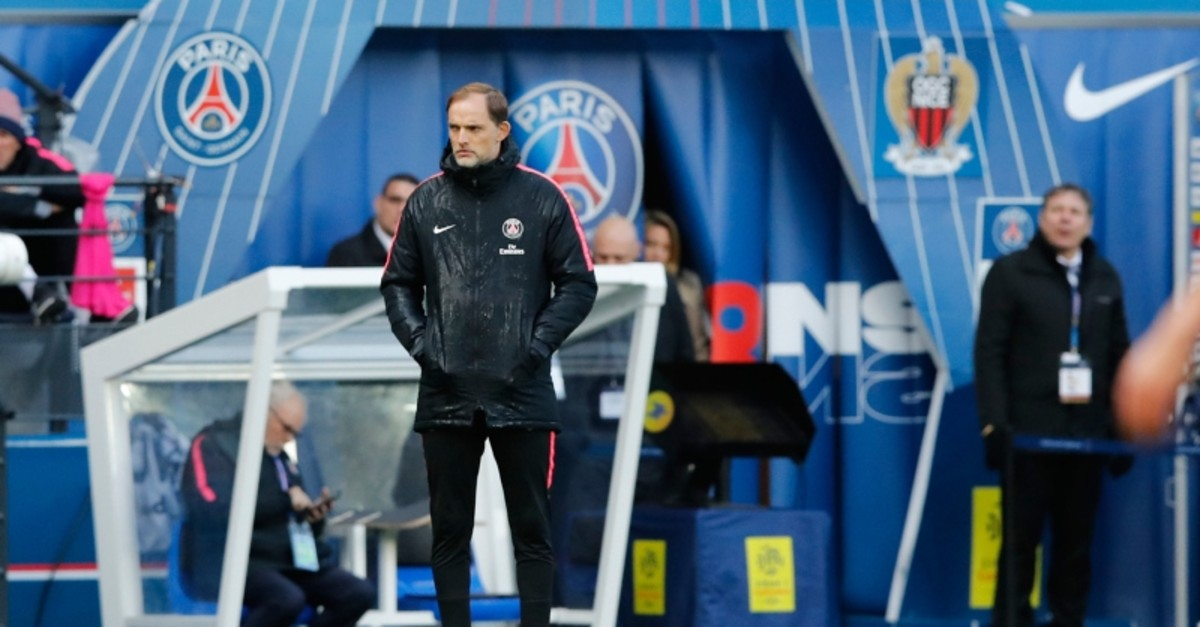 In this Saturday, May 4, 2019 file photo, PSG coach Thomas Tuchel watches his team during the French League One soccer match between Paris Saint-Germain and Nice at the Parc des Princes stadium in Paris, France. (AP Photo)