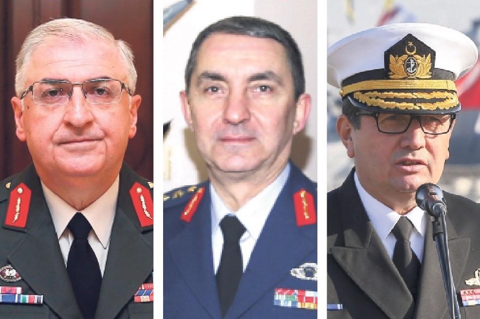 Commander of the Land Forces Gen. Yau015far Gu00fcler (L), Naval Forces Commander Adm. Adnan u00d6zbal (C) and Air Force Commander Hasan Ku00fcu00e7u00fckakyu00fcz (R).