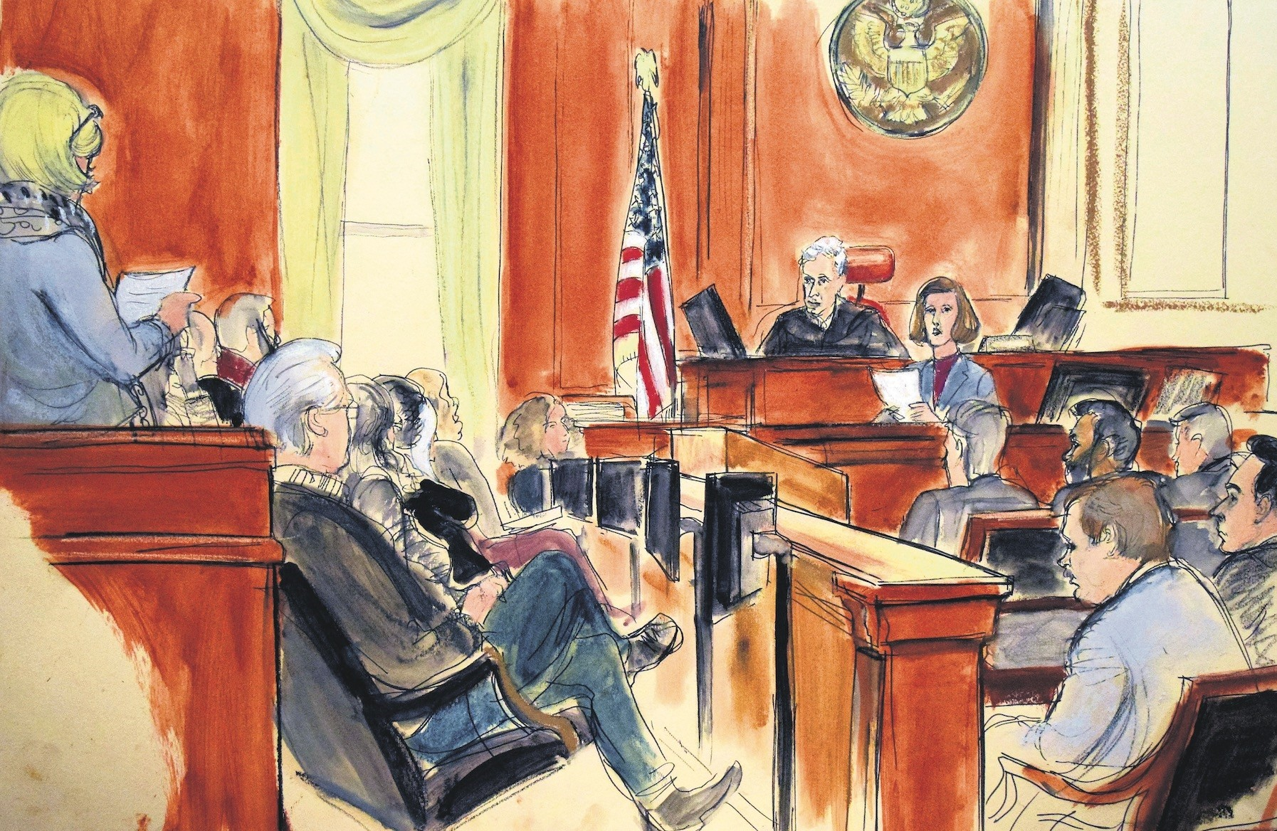 A courtroom sketch shows the jury foreperson reading the verdict as defendant Mehmet Atilla, foreground far right, listens at the United States Courthouse, New York, Jan. 3.