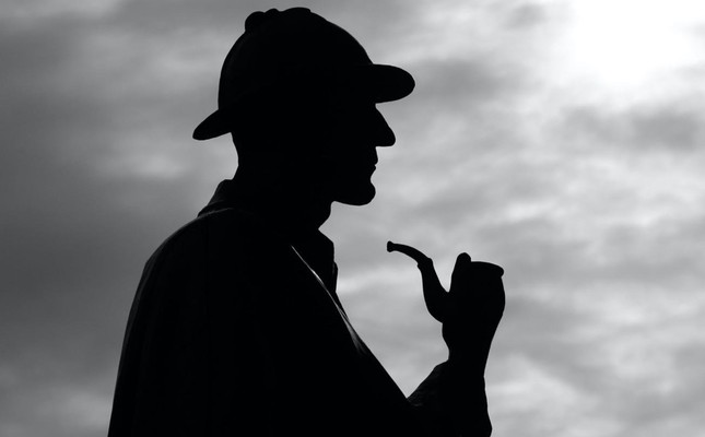 The silhouette of Arthur Conan Doyle's fictional character Sherlock Holmes.
