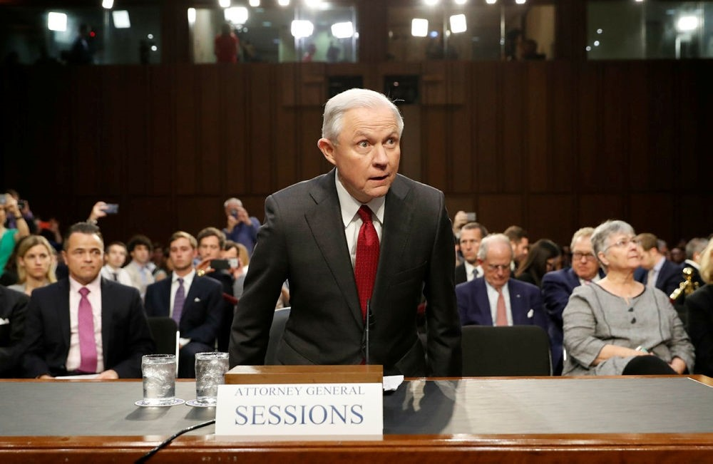 Attorney General Jeff Sessions arrives on Capitol Hill in Washington, Tuesday, June 13, 2017, to testify before the Senate Intelligence Committee hearing. (AP Photo)