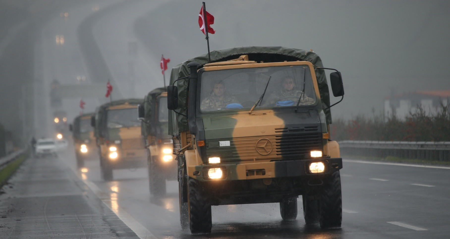 A convoy of Turkish military vehicles, as part of deployments to the Syria border, seen on the road in southern u015eanlu0131urfa province, bordering Syria, Jan. 2019.